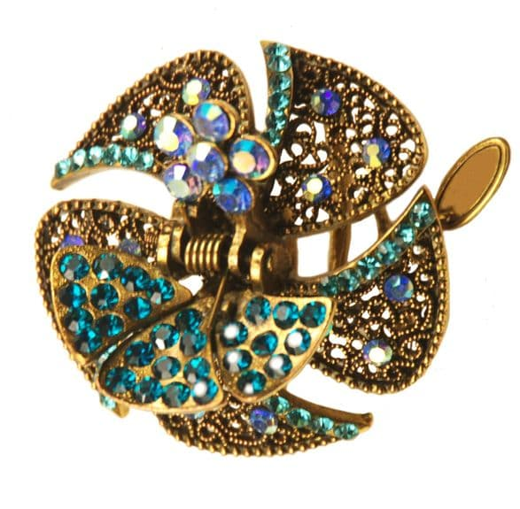 1. F80530 blue hairstyling crystal embellished sequined jaw hair clip